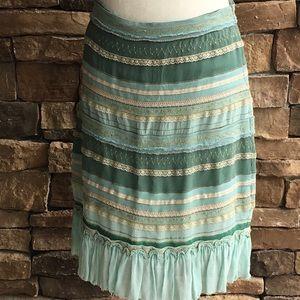 Odille Anthropologie Gold Threading Skirt Sz 6